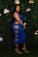 """Way Too Pricey"" Cut Out Midi Dress - Royal Blue"