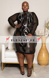 "Plus Size ""Silver Fox"" Sequin Mesh Dress - Black"