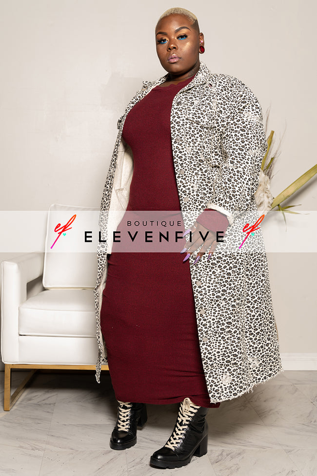"Plus Size ""Illest"" Denim Maxi Jean Coat - Animal Print"