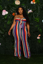 """Chakras"" Colorful Stripe Jumpsuit - Multi Red Blue Orange"
