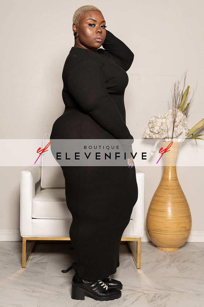 "Plus Size ""Braxton"" Knit Maxi Sweater Dress - Black"