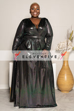 "Plus Size ""Next Level"" Lurex Double Split Maxi Dress - Iridescent Black"