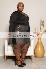 "Plus Size ""Shine Bright"" Sheer Sequin Skirt - Black Silver"