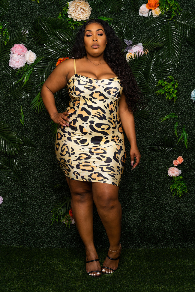 """Alter Ego"" Leopard Print MIni Dress - Soft Gold"