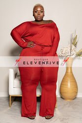 "Plus Size ""Sassy"" Off Shouder Jumpsuit - Rust"