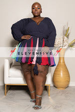 "Plus Size ""Carousel"" Baby Doll Dress - Navy Multi"