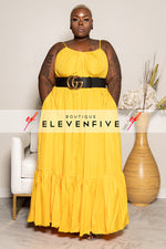 "Plus Size ""Overflow"" Maxi Dress - Yellow"