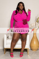 "Plus Size ""Hotter Than Pink"" Double Blazer Suit Dress - Fuchsia"