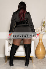 "Plus Size ""Black Out"" Double Blazer Suit Dress - Black"