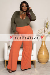 "Plus Size ""Harlo"" Wide Leg Pant- Rust"