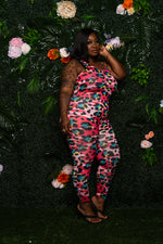 """Silky"" Leopard Print Jumpsuit - Hot Pink"