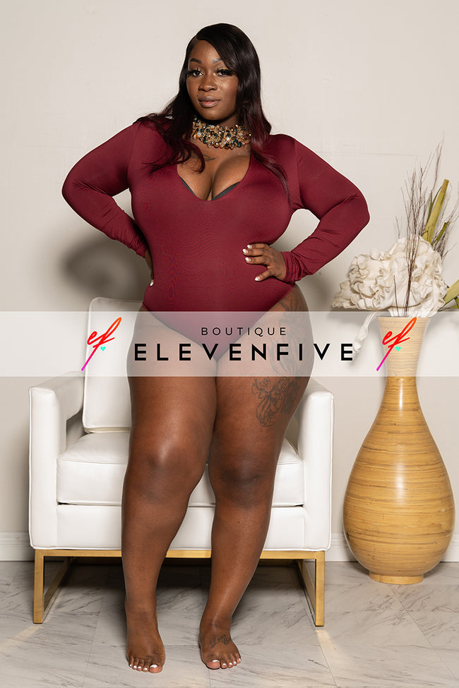 "Plus Size ""Midway"" Long Sleeve Bodysuit - Burgundy"