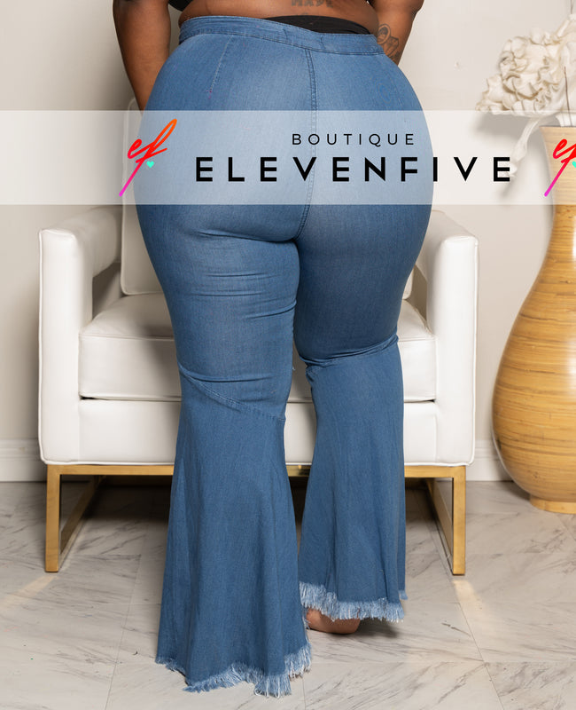 "Plus Size ""Rough Around The Edges"" Bell BOttom Split Jeans - Medium Blue"