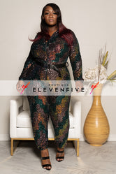 "Plus Size ""Outter Space"" Sequin Jumpsuit - Green Rose Gold"