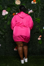 "Plus Size ""Sporty Shorty"" Track Dress - Hot Pink"