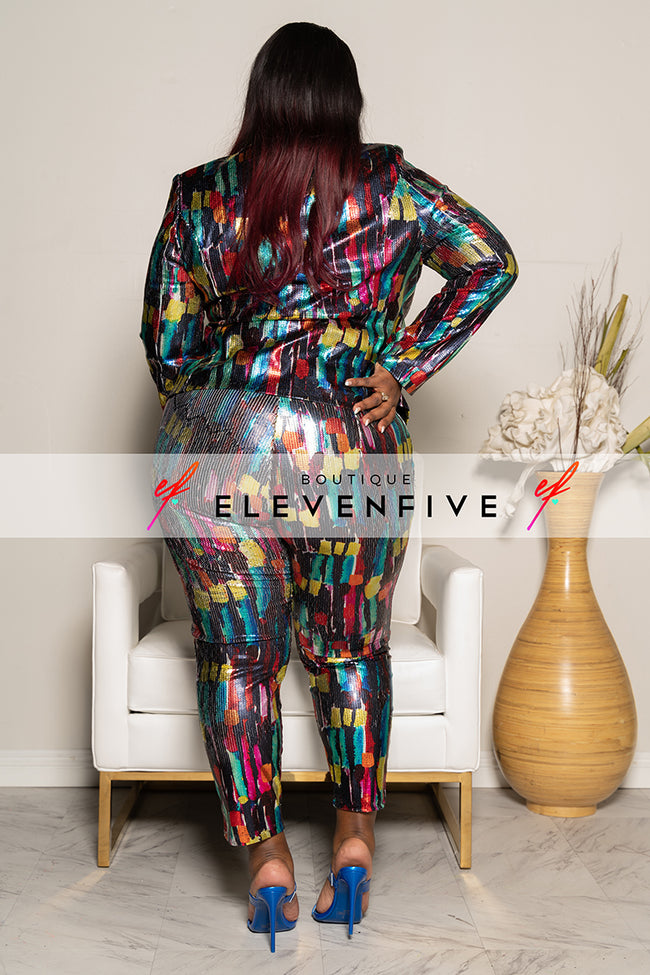 "Plus Size ""Fired Up"" Metallic Paint Stroke Pant Suit- Multi Blue"