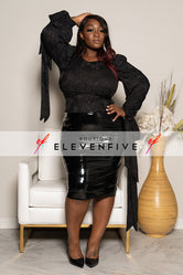 "Plus Size ""Can't Tie Me Down"" Cropped Blouse - Black Glitter"