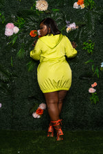 "Plus Size ""Sporty Shorty"" Track Dress - Neon Green"