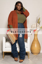 "Plus Size ""I Speak French"" Cardigan - Rust"