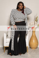 "Plus Size ""Can't Tie Me Down"" Cropped Blouse - Black White Polka Dot"