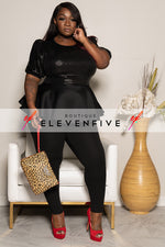"Plus Size ""Brooklyn"" Sequin Peplum Top - Black"