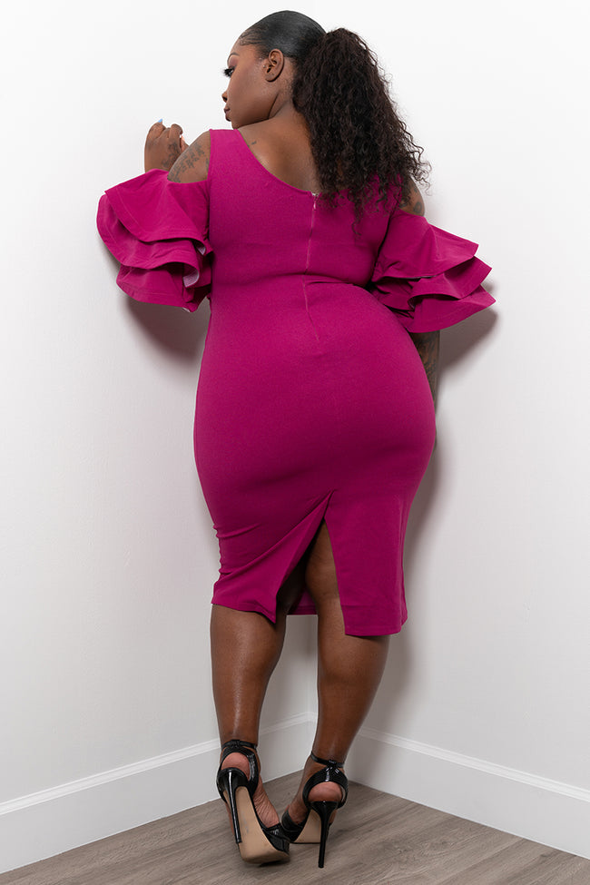 """Ring My Belle"" Cold Shoulder Bell Sleeve Dress - Magenta"