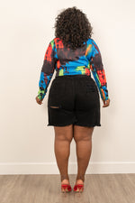 "Plus SIze ""Tie Dye For"" Moto Jacket - Multi Royal"