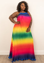 "Plus Size ""Taste The Rainbow"" Halter Maxi Dress"