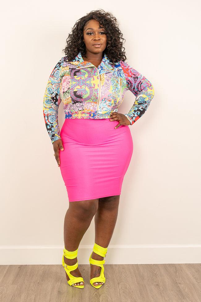 "Plus Size ""So Girly"" Paisley Moto Jacket - Pink Multi"