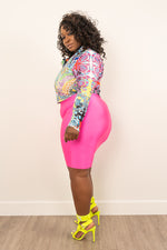 "Plus Size ""Hot Girl"" Slinky Tube Dress - Neon Green"