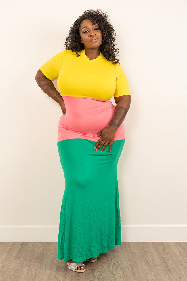 "Plus Size ""Triple Threat"" Maxi Dress - Yellow Pink Green"