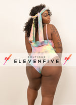 "Plus Size ""Cut From A Different Cloth"" 3 Piece Bodysuit - Pink Multi"