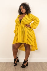 "Plus Size ""Dayna"" Hi Low Top - Mustard"