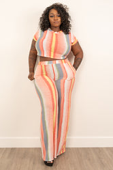 "Plus Size ""Down Time"" Crop Top Pant Set - Peach Gray Yellow White"