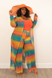 "Plus Size ""Emerald Bay""  Lounge Set - Teal Orange Mustard"