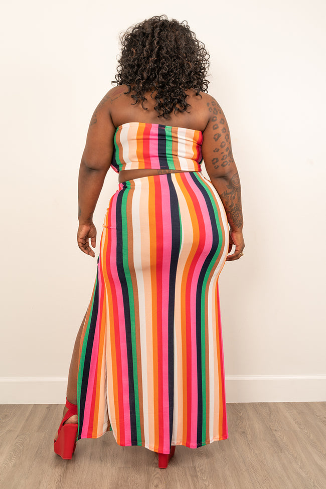"Plus Size ""Bits and Pieces"" 2 Piece Skirt Set - Multi Stripe"