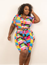 "Plus Size ""Activate"" Biker Set - Multi Blue Pink"