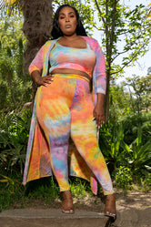 """Color Ways"" 3 Piece Tie Dye Pant Set - Multi pink Orange Blue"