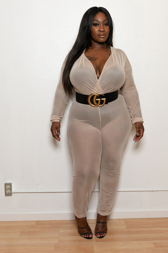 "Plus Size ""Came Thru Drippin"" Sheer Mesh Coverup Jumpsuit - Nude"