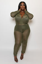 "Plus Size ""Came Thru Drippin"" Sheer Mesh Coverup Jumpsuit - Olive - Boutique115"