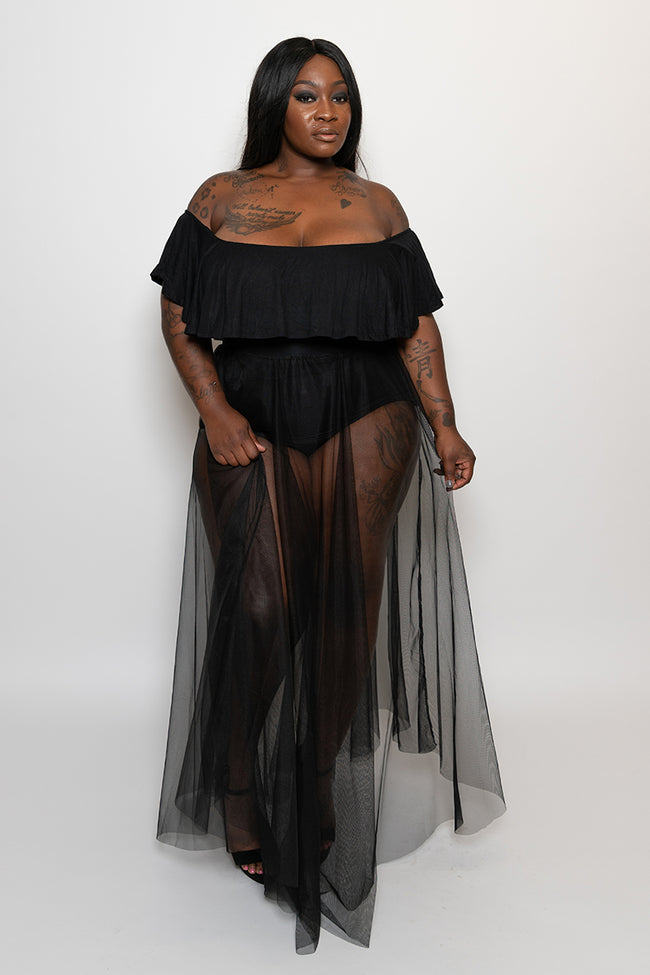 "Plus Size ""Goddess"" 2 Piece Off Shoulder Bodysuit Mesh Skirt Set - Black"