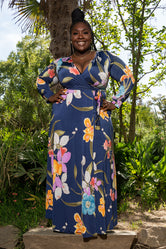 """A Mother's Love"" Floral Maxi Dress - Navy"