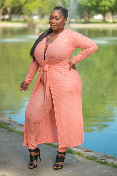 "Plus Size ""Kali"" 2 Piece Ribbed Duster Legging Set - Coral"