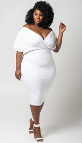 "Plus Size ""Lady Luck"" Off Shoulder Pearl Midi Dress- White"