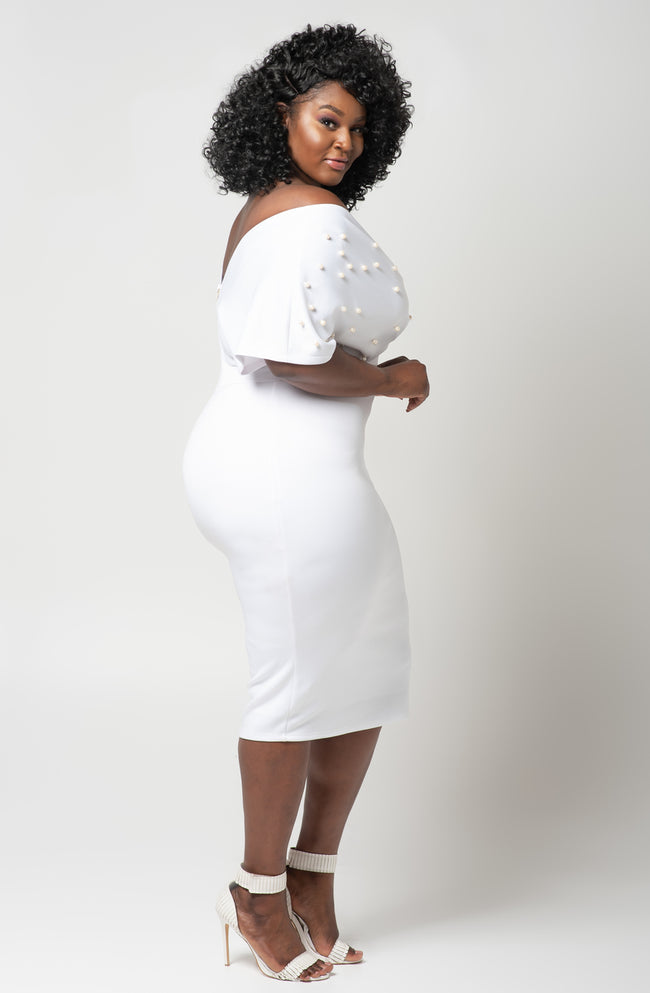 "Plus Size ""Lady Luck"" Off Shoulder Pearl Midi Dress- Black"