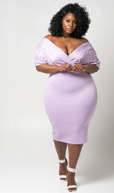 "Plus Size ""Lady Luck"" Off Shoulder Pearl Midi Dress- Lavender"
