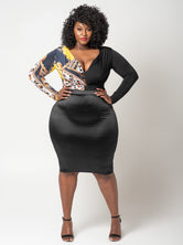 "Plus Size ""Sheena"" Satin Pencil Skirt - Black"