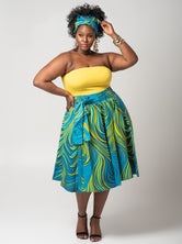 "Plus Size ""Curls and Swirls"" Afrocentric Circle Skirt - Teal"