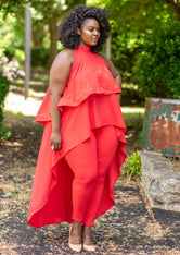 "Plus Size ""High Time Tea"" 2 Piece Pant Set - Red"