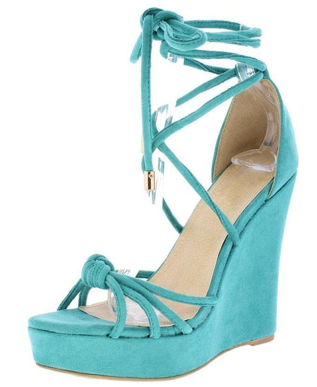 Strappy Wrap Tie Platform Wedge Shoes - Sea Green